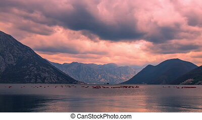 nuageux, baie, thunderclouds., cyclone, kotor, formes, côté...