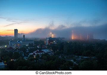 nuageux, coucher soleil, résidentiel, bâtiments, vue, sky.