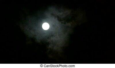 nuageux, entiers, par, lune