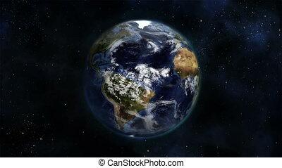 nuageux, la terre, itself, tourner