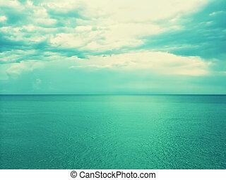 nuances, image, ciel, vert, retro, mer