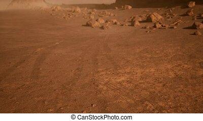 nuances, martien, fantastique, rouillé, orange, paysage