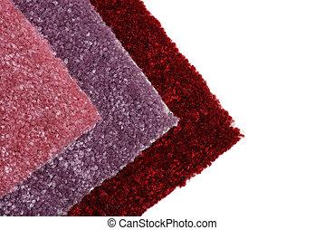 nuances, rouges, échantillons, moquette