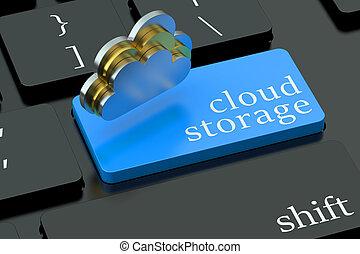 nube, almacenamiento, concepto, en, azul, teclado, botón