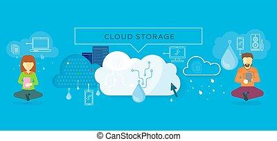 nube, almacenamiento, diseño, plano, concepto