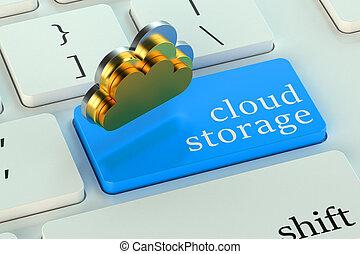 nube, almacenamiento, en, azul, teclado, botón