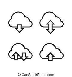 nube, almacenamiento, icono, set., vector