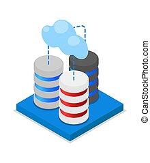 nube, almacenamiento, isométrico, 3d, icono