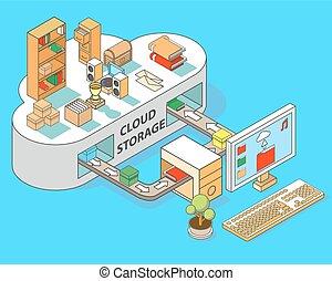 nube, almacenamiento, vector, plano, isométrico, ilustración