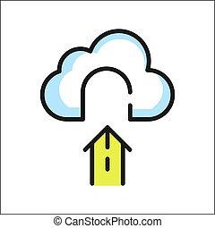 nube, archivo, icono, color