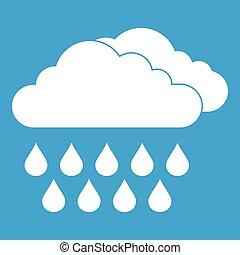 nube bianca, pioggia, icona