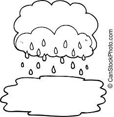 nube, blanco, negro, caricatura, lluvia