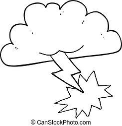 nube, blanco, negro, caricatura, tormenta