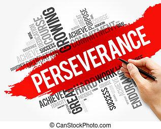 nube, collage, perseverancia, palabra