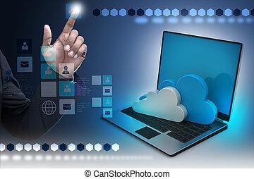 nube, computador portatil, concepto, actuación, computing.