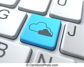 nube, computing-, azul, botón, en, keyboard.