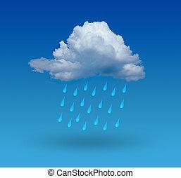 nube, con, lluvia, y azul, plano de fondo