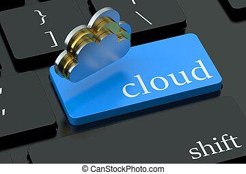 nube, concepto, en, azul, teclado, botón