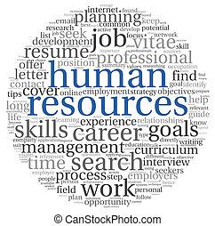 nube, concepto, etiqueta, recursos humanos
