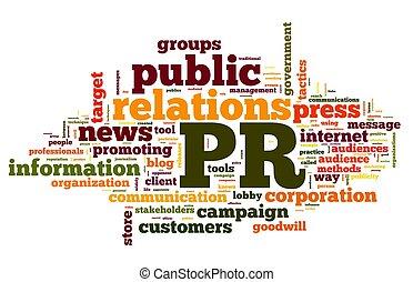 nube, concepto, etiqueta, relaciones públicas