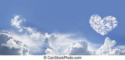 nube, corazón, cielo azul, formado