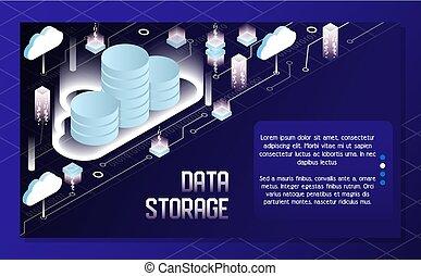 nube, datos el almacenamiento, vector, isométrico, ilustración