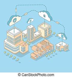 nube, datos el almacenamiento, vector, plano, isométrico, ilustración