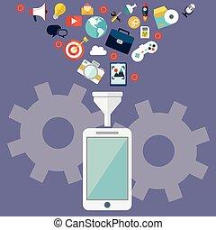 nube, datos el almacenamiento, y, datos, filtración, en, móvil, y, tableta, plano, diseño, vector, illustration.