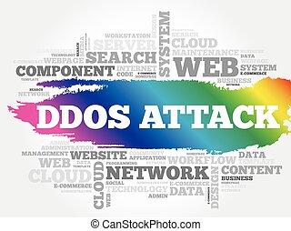 nube, ddos, ataque, palabra, concepto, empresa / negocio, collage