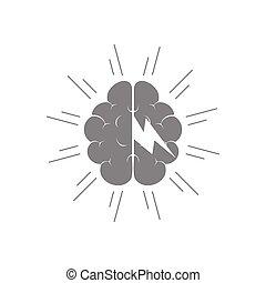 nube de tormenta, cerebro, símbolo, vector