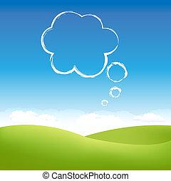 nube, en, cielo