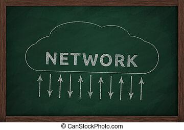 nube, establecimiento de una red, pizarra, Ilustración