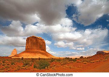 nube, gigantes, monumento, sombra, valle, molde