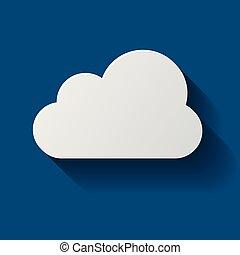 nube, icono, aislado, en, fondo., nube, plano, ilustración, vector