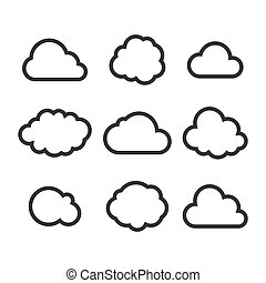nube, icono, set., vector