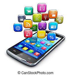 nube, iconos, smartphone