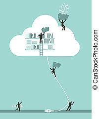 nube, informática, concepto de la corporación mercantil
