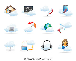 nube, informática, concepto, icono