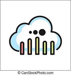 nube, informática, icono, color