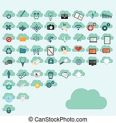 nube, informática, iconos
