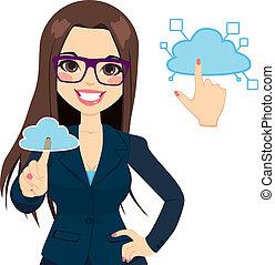 nube, informática, mujer de negocios, concepto