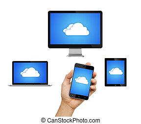 nube, informática, red, conectado, todos, dispositivos