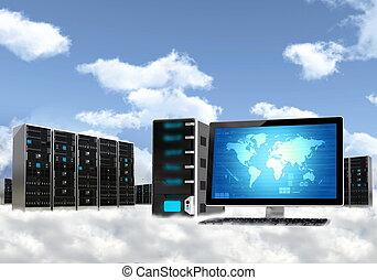 nube, informática, servidor, concepto