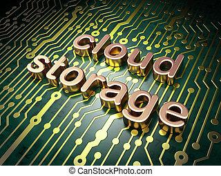 nube, informática, tecnología, establecimiento de una red, concept:, tablero de circuitos, con, palabra, nube, almacenamiento, 3d, render