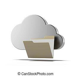 nube, informática, y, carpeta