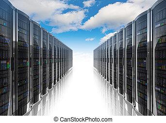 nube, informática, y, computadora, establecimiento de una...