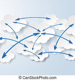 nube, informática, y, social, redes, concepto