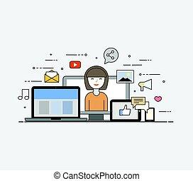 nube, internet., común, almacenamiento, para, todos, devices., feliz, user., social, redes