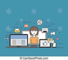 nube, internet., común, almacenamiento, para, todos, devices., feliz, user., social, redes, en, invierno, plano de fondo