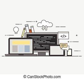 nube, internet., común, almacenamiento, para, todos, devices., programación
